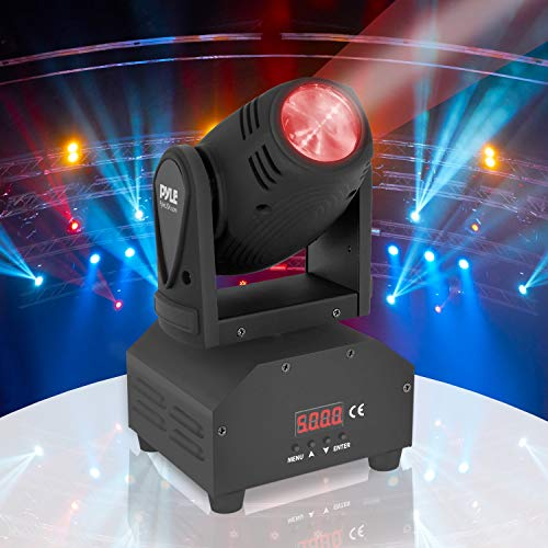 Rotating DJ Party Stage Light - Moving Professional Performance Show or Dance with RGB Color LED Projector Bulb, Flashing Disco Strobe, Beat Sync Motion Effect and DMX Control - Pyle PDJLT40