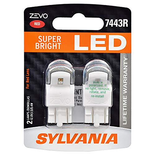 SYLVANIA 7443RLED.BP2 ZEVO 7443 T20 Red LED Bulb, (Contains 2 Bulbs)