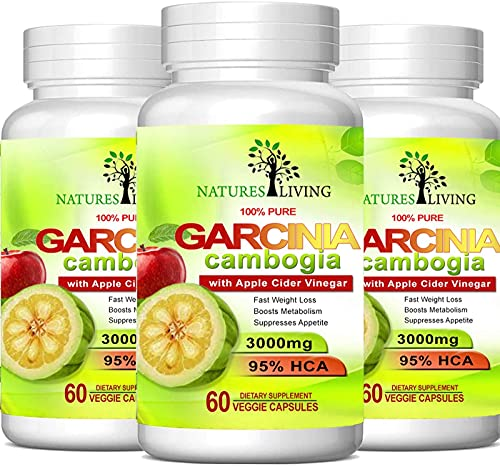 Pure Garcinia Cambogia Extract & Apple Cider Vinegar- 3000mg Capsules - All Natural Weight Loss, Detox, Digestion & Circulation Support - Best Weight...