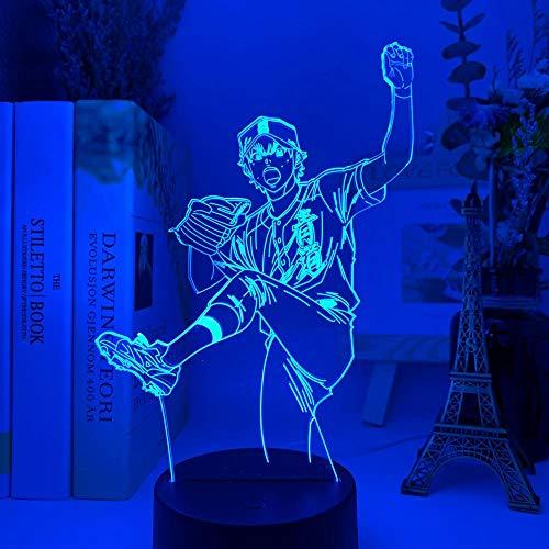 3D Luz de Ilusión LED Luz de Noche Anime Ace Diamond Sawamura Lámpara de Mesa USB Creativa para Decoración de Dormitorio para Niños Regalo de Cumpleaños