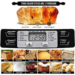 AUCMA Brotbackautomat Brotbackmaschine Brotbäcker 12 Backprogramme,Backmeister mit Automatische Zutatenbox,3 Versch Bräunungsgrade, ,Glutenfrei BPA-frei, LCD Bildschirm und Warmhaltefunktion