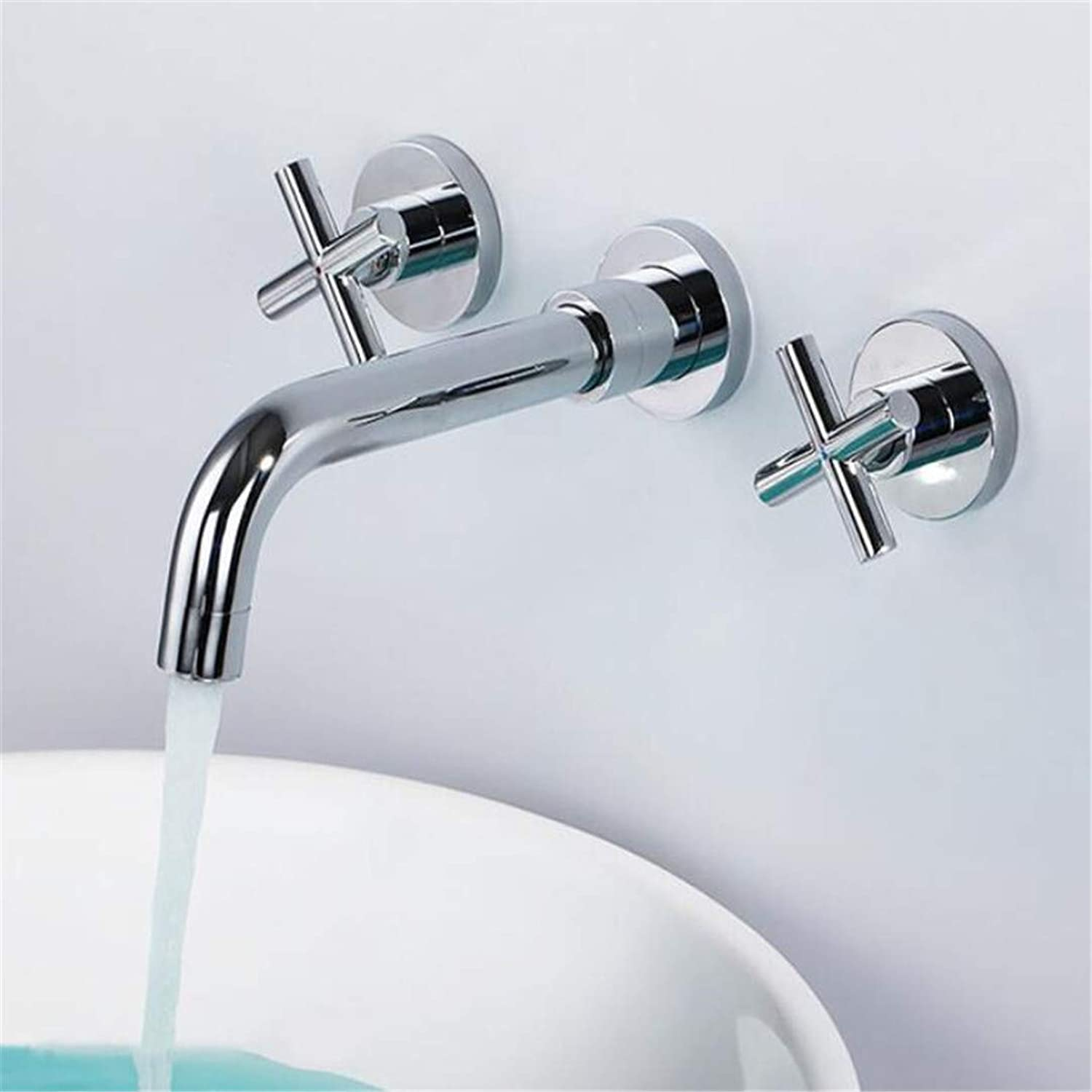 Faucet Washbasin Mixer Brass Chrome Plated Wall Mounted Double Handle Bathroom Faucet High Quality Round Sink Mixer Widespread Water Tap