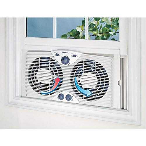 "HOLMES Dual 8"" Blade Twin Window Fan with Manual Controls, 3 Speed Settings, White"