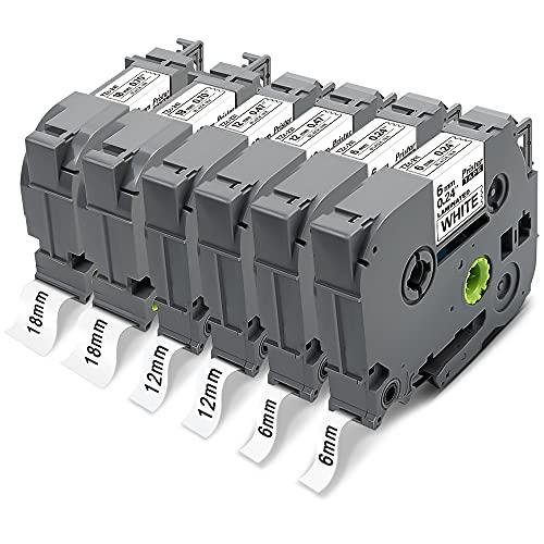 6x Pristar 6mm 12mm 18mm Compatible Ruban pour Brother TZe-211 TZe-231 TZe-241 TZ Noir sur Blanc Laminé Tape pour PT-D400 D400VP P750W E550WVP D600 PT-H300 2030 1830VP P710BT P700