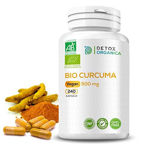 CURCUMA KAPSELN BIO // 500mg Kurkuma – 240 Kapseln // Hochdosiert und Zertifiziert // Premium Qualität von Detox Organica