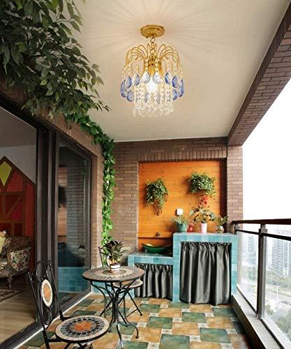 Exquisita lámpara de araña de cristal para sala de estar Lámpara de dormitorio romántica Lámpara colgante de restaurante rectangular Lámpara de techo LED moderna europea Villa Lámpara de esc