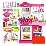 ロールプレイング子供の教育おもちゃのために現実的な照明サウンドで遊ぶおもちゃキッチン大型プラスチック玩具セット友達と(色:ピンク、サイズ:50x30x72cm) Soul hill (Color : Pink, Size : 50x30x72cm)