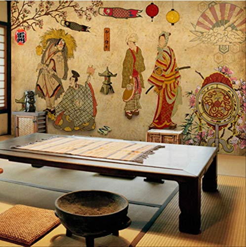 Papierbehang, 3D, Vintage, Japans, Ukiyo-e Ladies voor wandbehang, 3D, Sushi, keuken, restaurant, hotel, grill Largeur350cm - Hauteur250cm Een