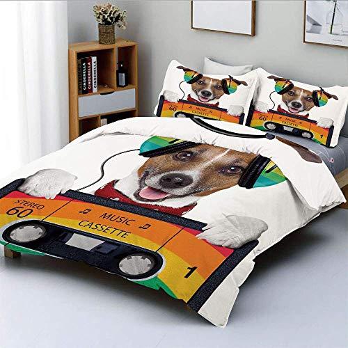 Påslakanset, hund lyssnar på musik från en gammal kassett på 80-talet färgglada hörlurar dekorativ, dekorativt 3-delat bäddset med 2 kudde imitation, flerfärgad, bästa presenten för enkel skötsel anti-