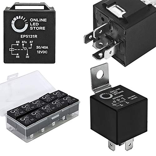 10 Pack Bosch Style 5-Pin 12V Relay Switch [SPDT] [30/40 Amp] 12 Volt...