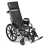 Invacare Tracer SX5 Recliner Wheelchair, with Desk Length Arms and T94HAP Elevating Legrests with Padded Calf Pads, 18' Seat Width