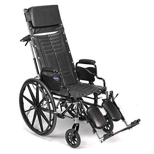 "Invacare Tracer SX5 Recliner Wheelchair, with Desk Length Arms and T94HAP Elevating Legrests with Padded Calf Pads, 18"" Seat Width"
