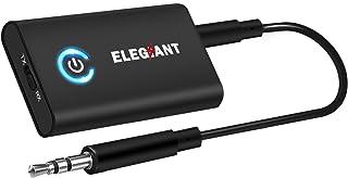 Bluetooth トランスミッター ブルートゥースレシーバー ELEGIANT Bluetooth 5.0 (受信機 + 送信機 一台二役)8時間再生 3.5mmオーディオ デジタル ワイヤレス 小型 高音質 2台同時接続 aptX低遅延 パ...