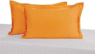 Swayam Drape and Dream Sonata Classic Satin Damask Cotton 2 Piece Pillow Cover Set - Mango Delight (PCS02)