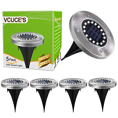 Solar Ground Lights,16 LEDs Solar Lights Outdoor Garden Waterproof Landscape Lighting, for Patio Pathway Lawn Yard Deck Driveway Walkway Solar Outdoor Lights 5 Piece (White).