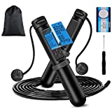 321OU Jump Rope - Ropeless Jump Rope with Electronic Time, Calorie Counter, Skipping Rope for Aerobic Exercise Speed Training Endurance Training Fitness Gym with Carrying Bag for Men Women Kids