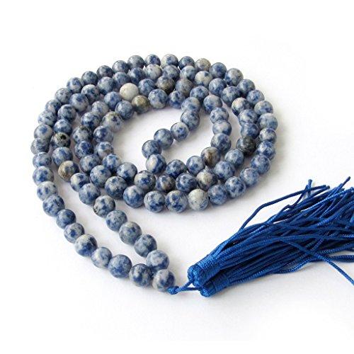 OVALBUY 8mm 108 Blue White Beads Buddhist Prayer Mala Necklace