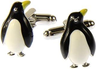 Pinguino Colori Bianco e Nero Ottone COLLAR AND CUFFS LONDON Gemelli Di ALTA QUALIT/À e SCATOLA REGALO Animale Uccello Antartide Inverno