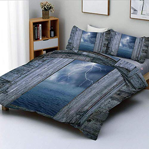 Duvet Cover Set,Lightning Bolt at Night from Window in A Seaside House Forces of Nature Theme Decor Decorative 3 Piece Bedding Set with 2 Pillow Sham,Blue Grey,Best Gift For Kid