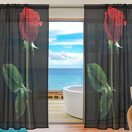 Mnsruu Cortinas de Ventana Transparentes para Sala de Estar Dormitorio Rosa roja Impreso Voile Poliéster Conjunto de 2 Paneles de Cortina, 200x140cm
