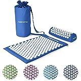 Akupressurmatte Premium, Akupressur Set - inkl. Akupressurmatte, Kissen, Tasche & Workout App, Bezug aus 100% Baumwolle, Lösung von Verspannungen I Massagematte (Königsblau) -