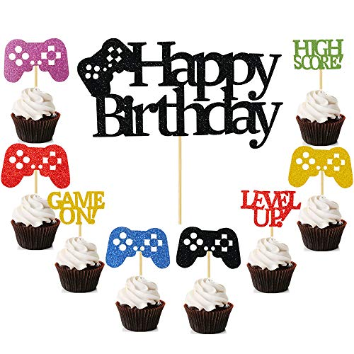 25PCS Video Gaming Party Cake & Cupcake Toppers Gamer Party Supplies Video Game Themed Birthday decorations Game Fans Party Favors
