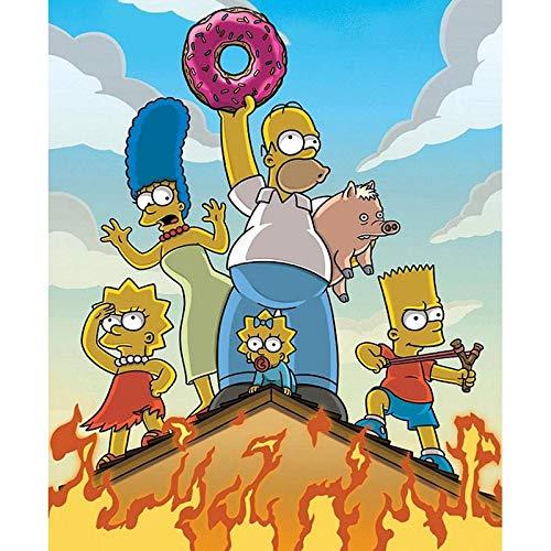 ANnjab 5d DIY Pintura de Diamante Cuadrado Completo Los Simpson póster Punto de Cruz Mosaico Bordado Imagen decoración del hogar Regalo Hecho a Mano 30x40cm