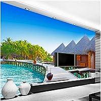 Xbwy 装飾壁画壁紙ステレオシーサイド風景木製の橋壁紙カフェダイニングルームモダン-400X280Cm