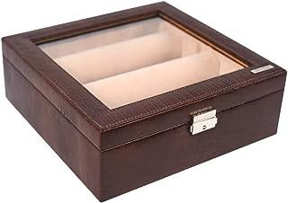 Stones Bridge Genuine Leather Bangle Storage Box ( Brown_Medium)