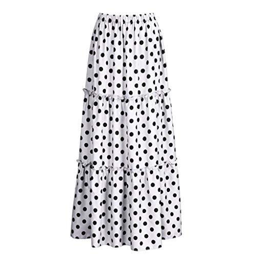 Skang Mujer Cintura Alta Falda Larga con Lunares de Estampada Básica Plisada Verano Falda Maxi Tallas Grande S-5XL
