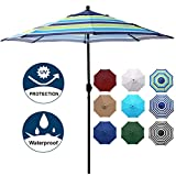Blissun 9' Outdoor Aluminum Patio Umbrella, Striped Patio Umbrella, Market Striped Umbrella with Push Button Tilt and Crank (Blue and Green)