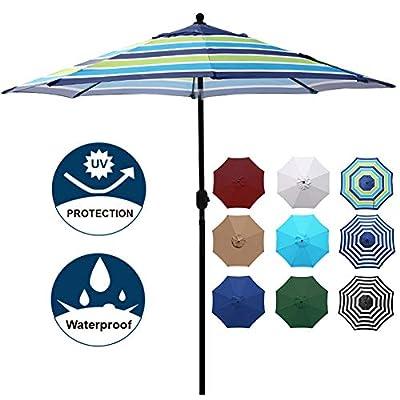 Blissun 9' Outdoor Aluminum Patio Umbrella, Striped Patio Umbrella, Market Striped Umbrella with Push Button Tilt and Crank (Blue and Green)