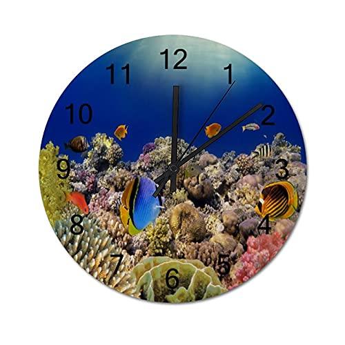 Reloj de Pared ,Mundo Submarino. Peces de Coral del, Relojes de Pared Digitales de Madera Que no Hacen tictac, Funcionan con Pilas, decoración Sala de Estar, Dormitorio, Aula, Oficina (10 Pulgadas).