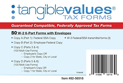 W-2 Tax Forms 2019 - Tangible Values 6-Part Laser Tax Form Kit with Envelopes - Accounting & QuickBooks Software Compatible, 50 Pack Photo #3