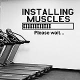 Gym stickers muraux muscle inspiration salon décoration de la maison vitrine moderne musculation art vinyle autocollant mural autocollant mural 168x84 cm