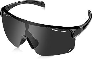 CHEREEKI Gafas Ciclismo Hombre Polarizadas, Gafas Running Gafas MTB Polarizadas UV400 Protección, Gafas Deportivas para Deportes al Aire