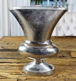 MichaelNoll Vase Blumenvase Gefäß Pokalvase Dekovase Aluminium Silber Luxus, Deko Modern, Wohnzimmer, Fensterbank, L 37 cm