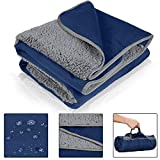 """Waterproof Outdoor Blanket with Sherpa Lining, Windproof Triple Layers Warm Comfy Foldable for Camping Stadium, Sports, Picnic, Grass, Concerts, Pet, 59"""" x 80"""" Navy - Machine Washable"""