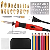 [UL Listed] Wood Burning Kit, Wood Burning Pyrography Pen Kit Tool with Adjustable Temperature Control/Carving/Embossing/Soldering Tips + Stencil + Carving Knife + Stand + Carrying Case