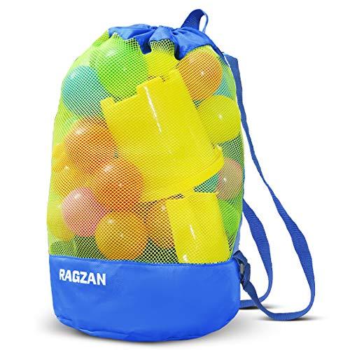 Strandspielzeug Tasche Beach Bag Strandtasche RAGZAN, großer Kordelzugrucksack für Kinder Kinderspielzeug Aufbewahrungstaschen Sand Toy Bag Langlebiges und schnell trocknendes für Familie Urlaub(Blau)