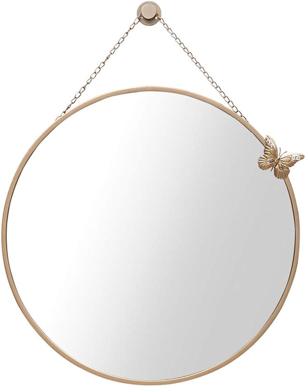 Bathroom Mirror Wall Hanging Mirror Round Mirror Vanity Mirror Bathroom Vanity Mirror (color   gold, Size   40cm)