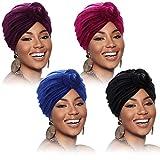 4 Piezas Pañuelos Africano para Mujeres Sombrero Turbante Capo Preatado Gorro Beanie con Nudo