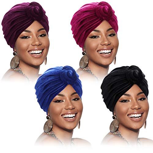 SATINIOR 4 Stücke Afrikanischen Kopfschmuck für Damen Turban Hut Pre-Gebunden Motorhaube Knoten Mütze Kappe