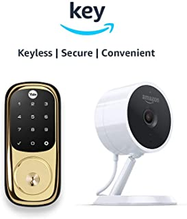 Yale Assure YRD226 Touchscreen Deadbolt + Amazon Cloud Cam | Key Smart Lock Kit (Polished Brass)