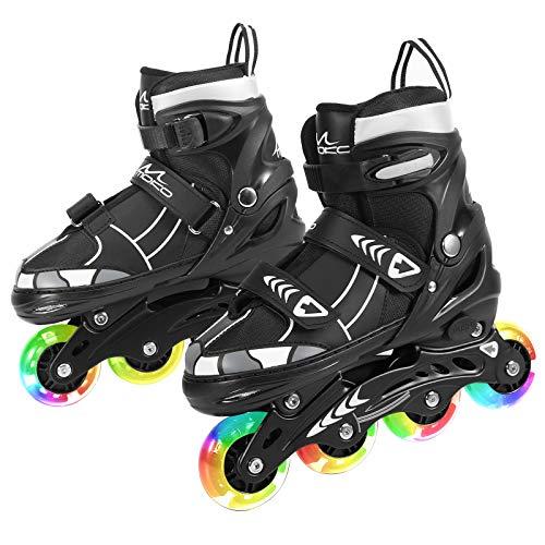 MoKo Inliner Rollschuhe, Einstellbare Rollschuhe Rollerskates Inliner Skates Rollschuhe Größenverstellbare Rollerskates Schuhe mit 8 Leuchtenden Rädern für Kinder Jungen Mädchen, M Größe - Schwarz