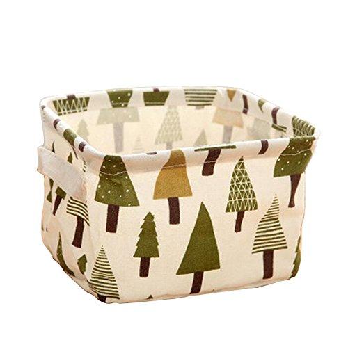 Lameida Tissu Boîtes de rangement Cubes de ranger poubelles pliable Mini Cosmétique Toys Cloting carré Organiseur bacs avec poignée en PU imperméable, Tissu, style-3, 20.5*16.5*13.5CM