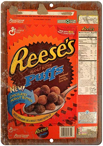 Brandless Reese's Peanut Butter Puffs Cereal Box Tin Sign Wall decor Retro Metal poster Painted Art Poster Decoration Plaque party Game Room Warning Band Yard Garden