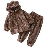 Pijamas para niños Nuevo Otoño e Invierno Oso Home Set, Pequeños y Medianos Niños Ropa Exterior Linda Ropa Caliente, marrón, 80 cm