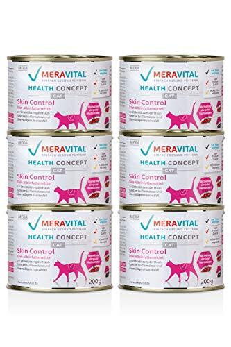 MERAVITAL Skin Control Katzenfutter nass 6 x 200 g für Katzen mit Hauterkrankungen & Futtermittelallergien mit Rezeptur aus Truthahn