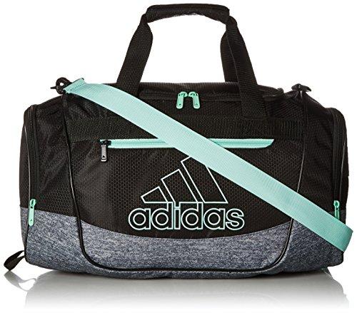 adidas Unisex Defender III Small Duffel Bag, Black/ Onix Jersey/ Clear Mint Green, Small